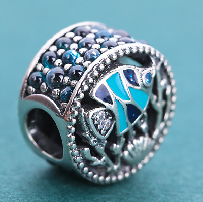 5081201f9 Authentic Pandora Sterling Silver Multi-Colored Ocean Life Bead #792075ENMX