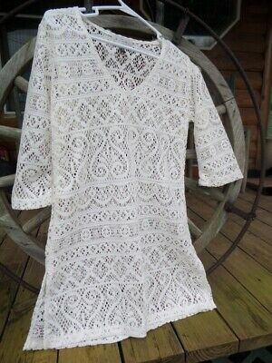 6d6e4fab98 Womens S J. Valdi Crochet Lace White Swimsuit Cover-Up Boho Tunic Overdress