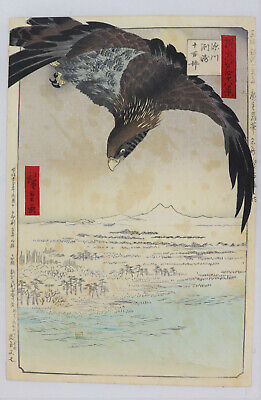 Hawk,Fukagawa  Japanese original woodblock print Hiroshige 48 views of Edo (1892