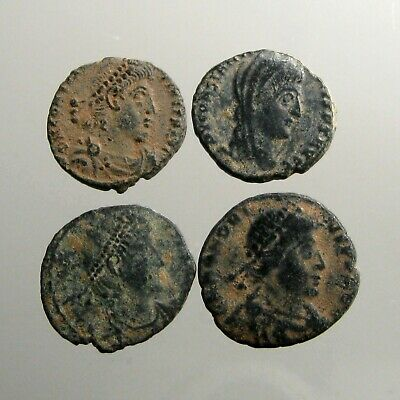 4 NICER UNCLEANED & UNIDENTIFIED LATE ROMAN BRONZE COINS___Great Roman Empire