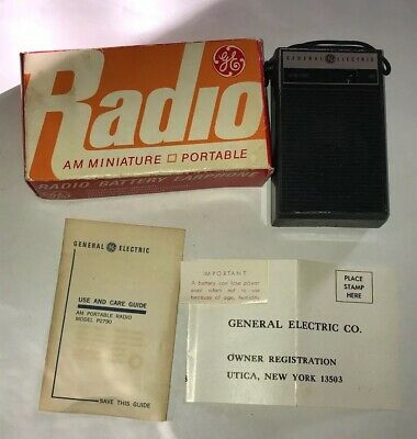 VINTAGE General-Electric Miniature-Portable-Transistor-AM-Solid-State-Radio /BOX