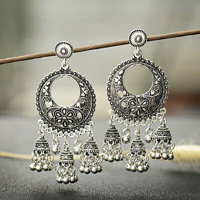 Vintage Oxidized Metal Silver Carved Flowers Jhumka Jhumki Drop Women Earrings