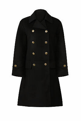 0c6392adbfb The Kooples Black Double-Breasted Womens 4 (FR 36) Military Wool Coat $895