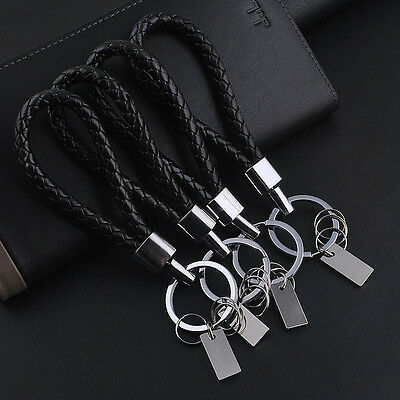 Men cool Leather Fashion Key Chain Ring Keyfob Car Keyring Keychain Gift