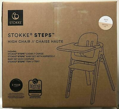 Stokke Steps Complete Baby High Chair with White Seat & Tray - 2 COLOR CHOICE