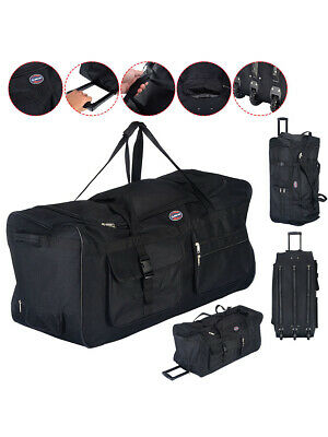 "36"" Rolling Wheeled Tote Duffle Bag Luggage Travel Duffle Suitcase Black"