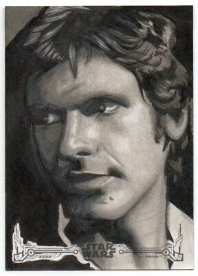 2018 Star Wars A New Hope Black and White Sketches Han Solo Louise Draper 1/1