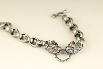 Fine S925 solid Silver pixiu cool Valuable Bracelet noble gift inlay red jewel
