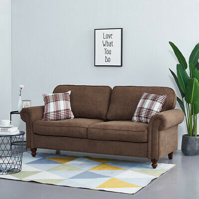 2/3 Seater Fabric Sofa Settee Couch Padded Seat Armchair & 2 Pillows Living Room