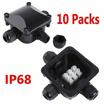 10 Packs 3 Way Outdoor Waterproof IP68 Electrical Cable Connector Junction Box