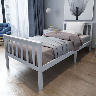 Single Bed Solid Wooden Frame in White 3ft New Year Gifts Celebration Furnitures
