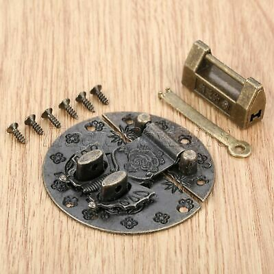 Retro Chinese Text Gift Jewelry Box Padlock & 59mm Butterfly Buckle Latch Hasp