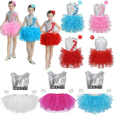 Girls Sequins Jazz Dance Dress Kids Ballet Ballroom Shiny Dancewear Set Costume