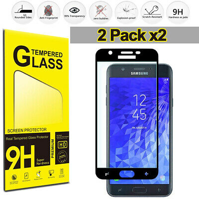 Samsung Galaxy J7 2018 2017 (2-Pack) Tempered Glass Full Cover Screen Protector