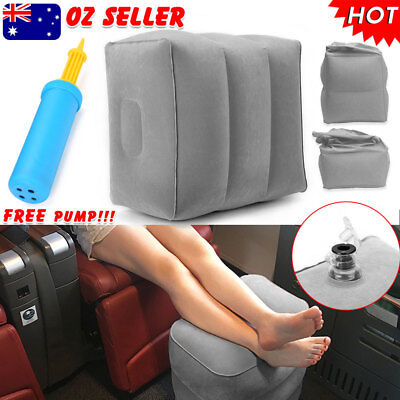 Inflatable Foot Rest +  Air Pump Portable Pad Footrest Kids Pillow Plane Travel