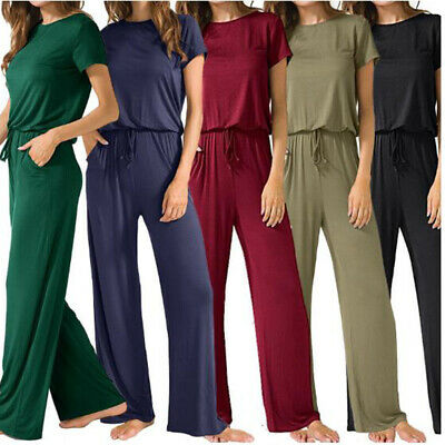 Summer Ladies Casual Cotton Overalls Womens Jumpsuit Rompers Playsuits Pants