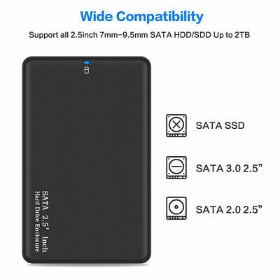"USB 3.0 SATA 2.5"" Hard Drive External Enclosure HDD Disk Box Case For 2TB Black"