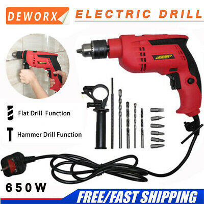 650W Corded Impact Drill Electric Screwdriver Powerful DIY Hammer Variable Speed