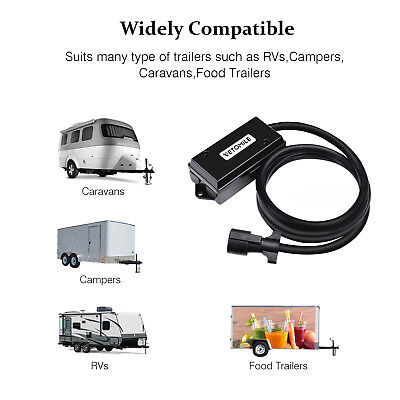 8ft 7 way trailer cord wire harness light plug connector weatherproof rv  cable