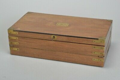British Army Officers' Victorian Brass Bound Writing Slope / Dispatch Box.  RBXJ