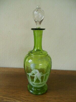 ANCIENNE CARAFE EN VERRE MARY GREGORY 19ème ANGLETERRE TBE