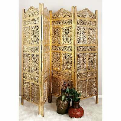 New Asian Orient Vintage Style 4 Wooden Panels Screen Room