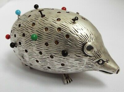 Superb Rare Large Size English Antique 1905 Sterling Silver Hedgehog Pin Cushion