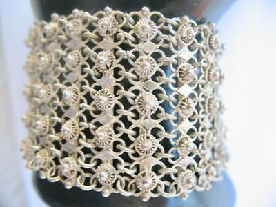 Antique Victorian Wide Sterling Silver Filigree Bracelet Tube Bar Closure 7""