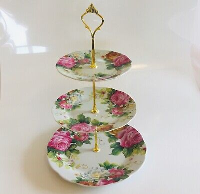 3 Tier Vintage Floral Ceramic Cake Stand Cupcake Wedding Plate Rosy