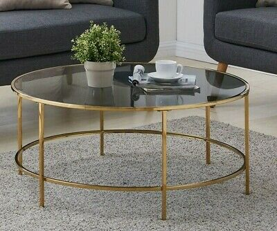 Round Coffee Table Gold With Smoked Gl Centre