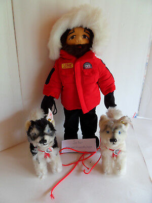 Steiff dog husky-set with musher lim. ed.  all Ids stuffed animal Germany 2283