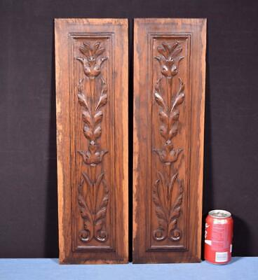 *Pair of French Antique Carved Panels in Oak Wood Salvage