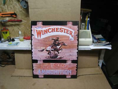 1991 Winchester Firearms Ammunition Tin Metal Sign / Wall Decor - Classic Cowboy
