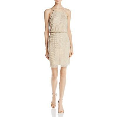 77a1d8a7d Aidan Mattox Womens Gold Halter Mini Party Cocktail Dress 0 BHFO 7371