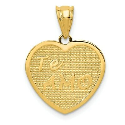 14k Yellow Gold TeAmo Heart Pendant, 16mm
