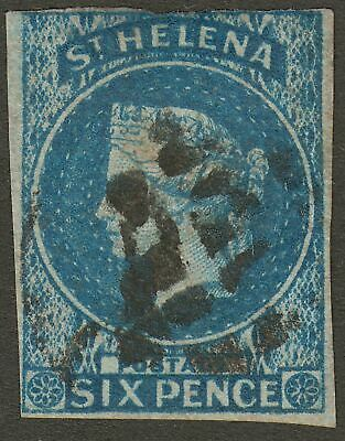 St Helena 1856 QV 6d Blue Imperforate Used SG1 cat £200 w three margins thinned