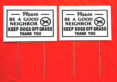 2 SIGNS & 2 stands HEY! NOT YOUR DOG'S BATHROOM sign 12