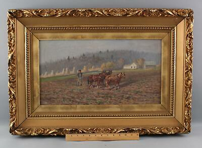 Antique THOMAS LINDSAY American Ohio Country Landscape, Farmer & Horses Painting