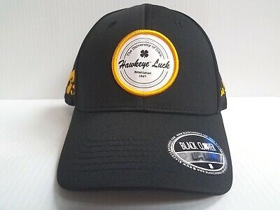 outlet store 83545 e9c0e Iowa Hawkeyes Black Clover Cap Lucky Patch Luck Hook Loop Adjustable Golf  Hat