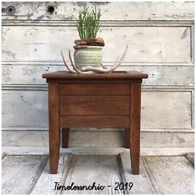ANTIQUE VTG Potty PRIMITIVE MISSION OAK WOOD CHAMBER POT POTTY PLANT STAND ART
