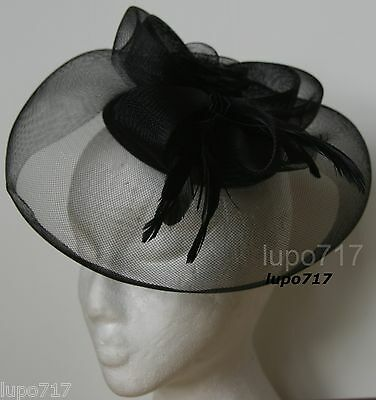 Black Hat Netting Feathers Fascinator Wedding Ascot Racing Hen Party Ladies Day
