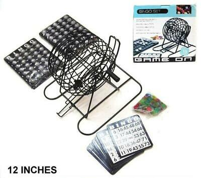 LARGE BINGO GAME SET w METAL 12IN CAGE CARDS BALLS complete games play board set