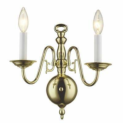 Livex Lighting Williamsburgh 2 Light Polished Brass Wall Sconce