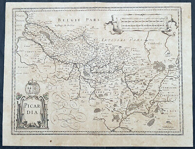 1628 Jan Jansson Antique Map of the Picardy Region of France