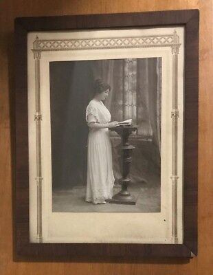 VINTAGE Early 1900's Photograph of Woman standing at Podium-Wood Frame-Original