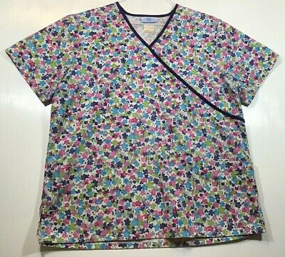a8c3af3ee2f Flowers Scrub Top womens size L Large by SB Scrubs Floral Watercolor mock  wrap