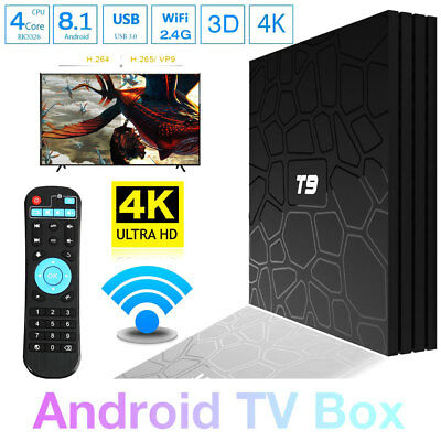 Smart TV BOX T9 Android 8.1 2.4GB RAM 32GB 4K IPTV GPU 5 CORE QUAD WIFI NUOVO