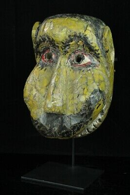 May129  Rare African Art Antique Wood Carving Mask W/Stand