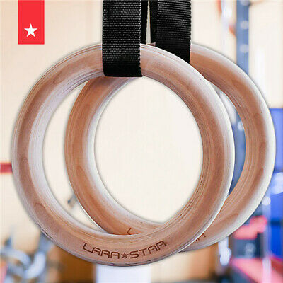 Wood Gymnastic Rings Straps Gym Crossfit Fitness Strength Training Pull Up