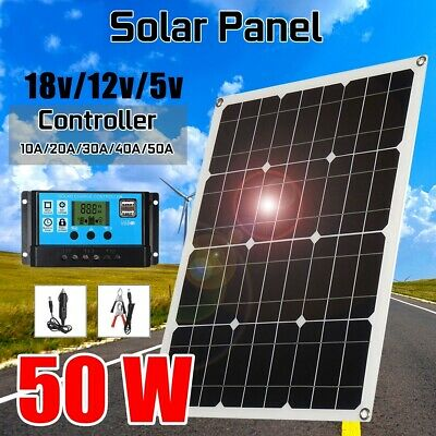 20/25/30/50W Solar Panel Kit Flexible System Portable Dual USB +Controller +Clip